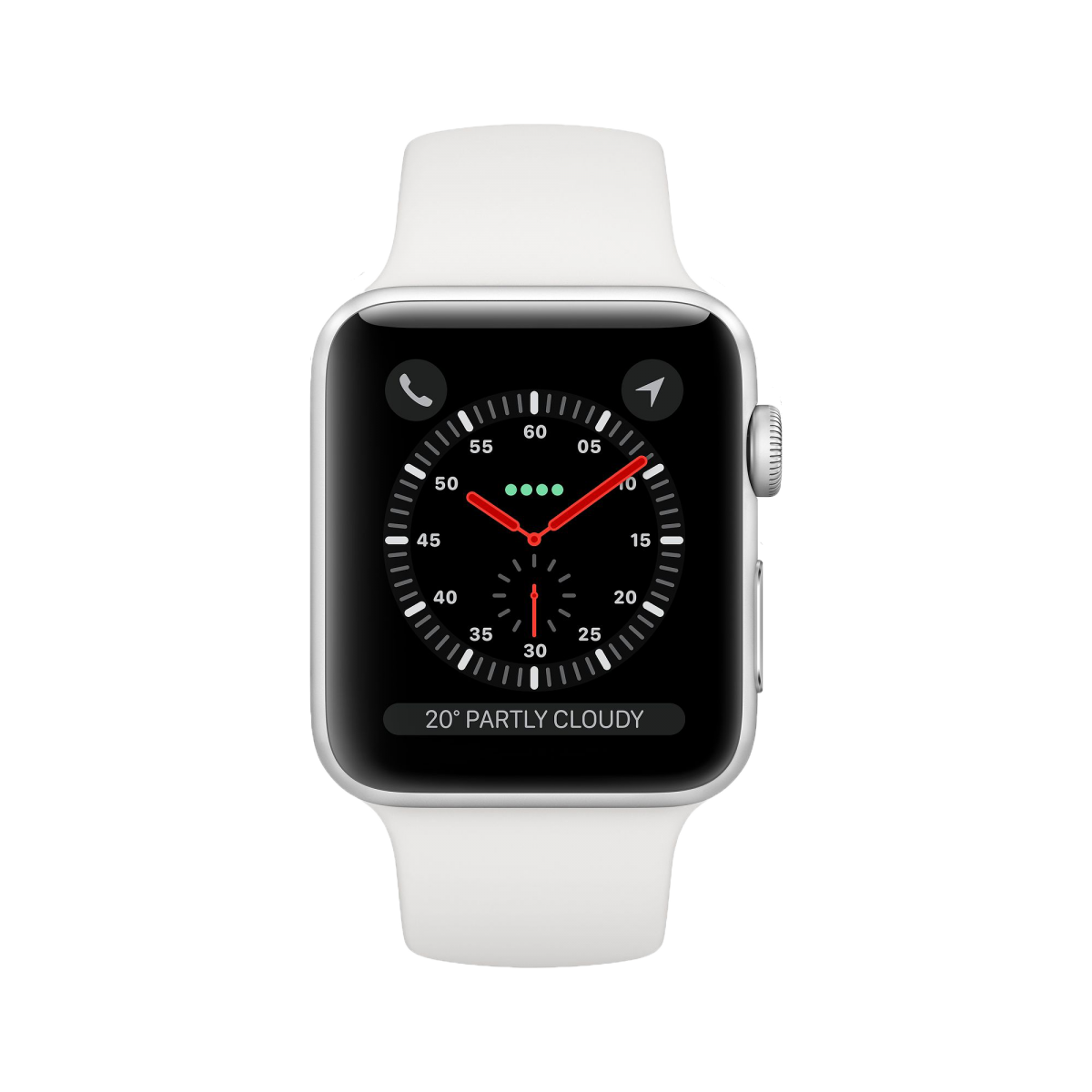 apple watch s3 silver with white band front