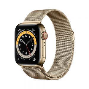 اپل واچ سری ۶ طلایی با بند میلانس