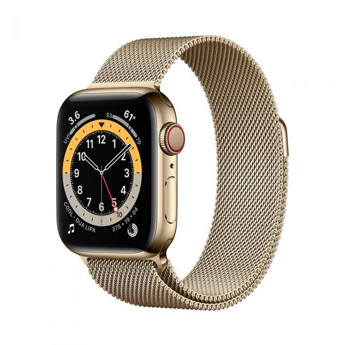 اپل واچ سری ۶ استیل طلایی با بند میلانس لوپ (Apple Watch 6 Series)